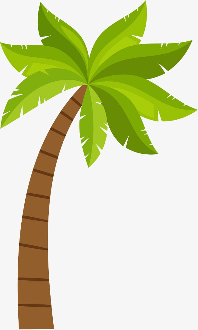 Cartoon coconut tree pattern PNG clipart.