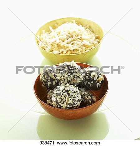 Stock Photography of Dark Chocolate Truffles Coated in Toasted.