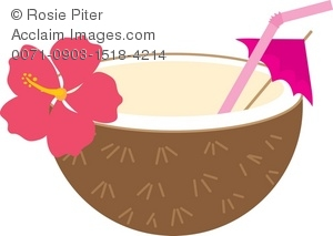 Clipart Illustration of a Tropical Coconut Drink.