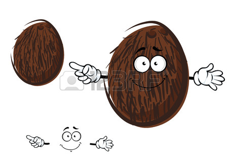 Cartoon Tropical Coconut Fruit Character With Brown Coir Fibre.