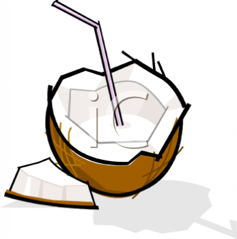 Coconut Milk With A Straw Clipart Image.