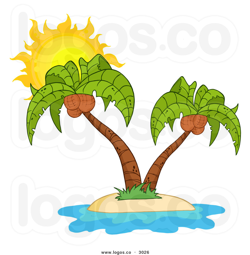Beach island palm tree with coconuts clipart.