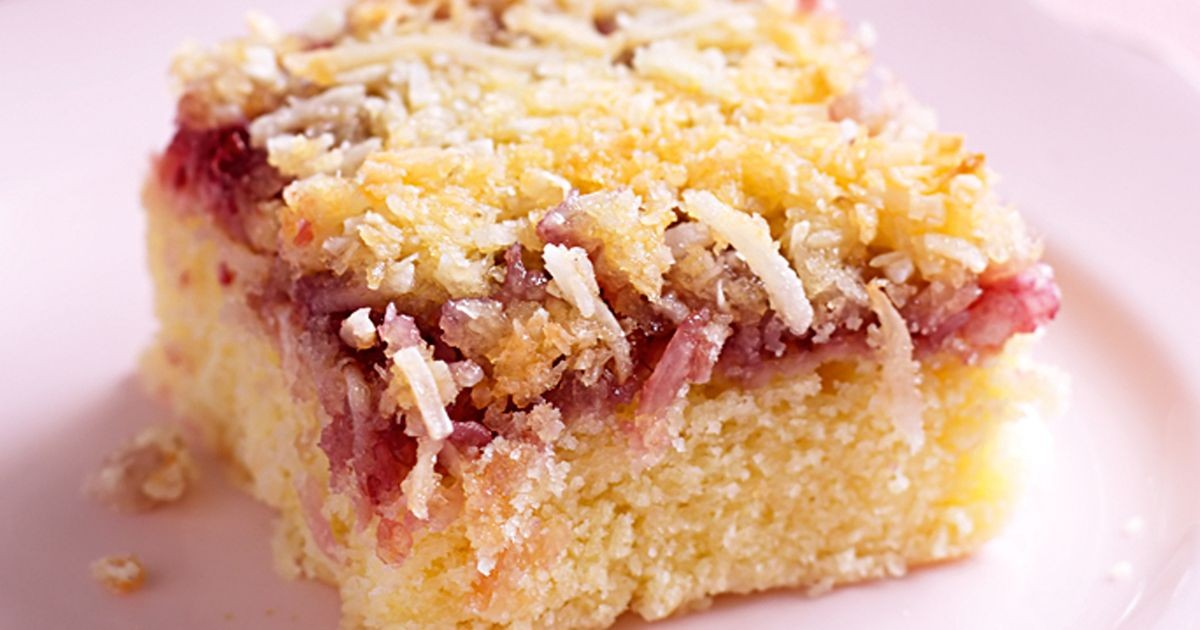 Raspberry coconut slice.