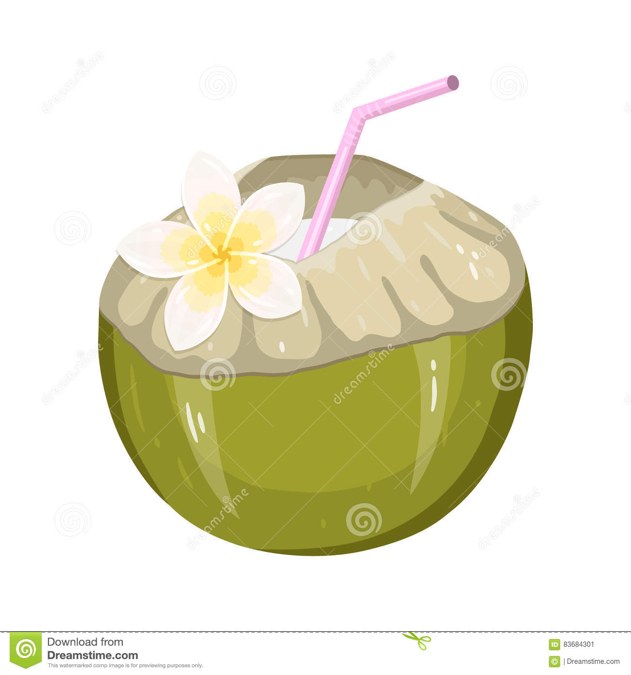 Coconut Water Drink. Green Fresh Drinking Coconut With A Straw And.