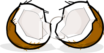 A Coconut Split Down the Middle Clipart Image.