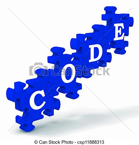 Clipart of Code Puzzle Showing Codification Or Encoding.