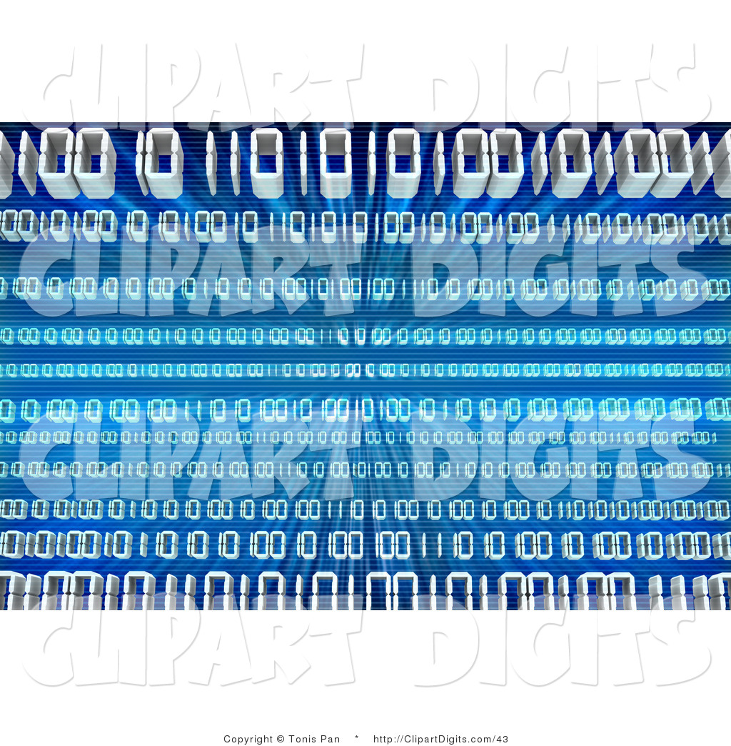 Clip Art of Waves of White Binary Coding Spanning a Blue.