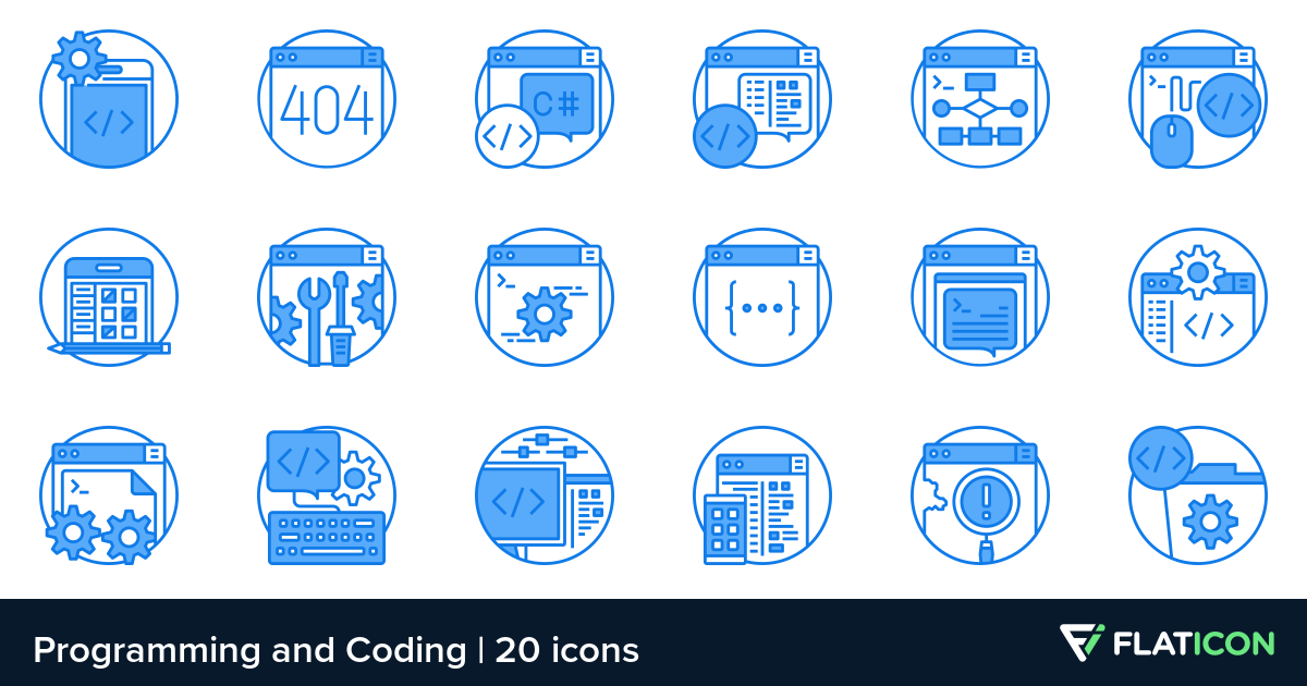 Programming and Coding 20 premium icons (SVG, EPS, PSD, PNG files).