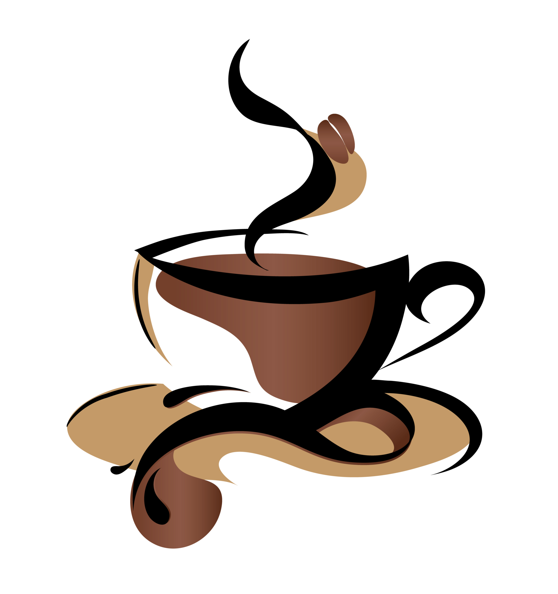 Steaming cup of coffee clipart.