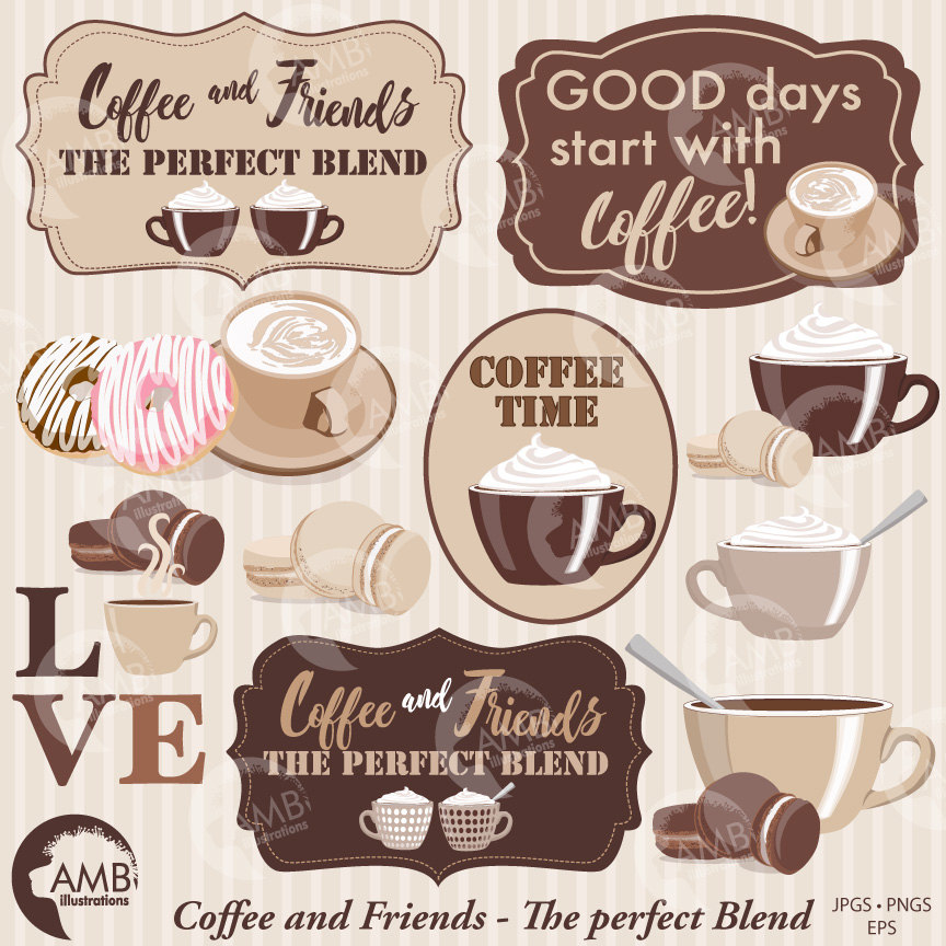 COMBO Coffee clipart, Coffee time clipart, Coffee frame clipart, Cafe au  Lait cups, Coffee words.