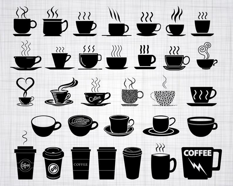 Coffee Cup SVG Bundle, Coffee Cup SVG, Coffee Cup Clipart, Cut Files For  Silhouette, Files for Cricut, Vector, Coffee Svg, Dxf, Png, Design.
