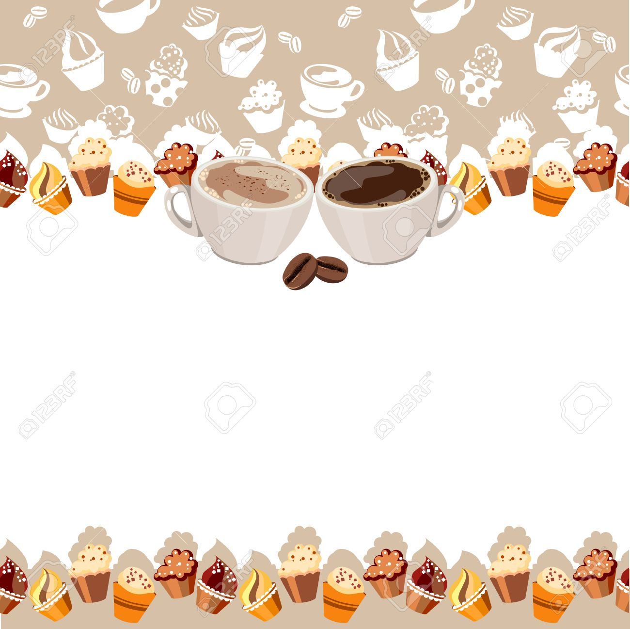 Greeting Card With Cups Of Coffee Royalty Free Cliparts, Vectors.