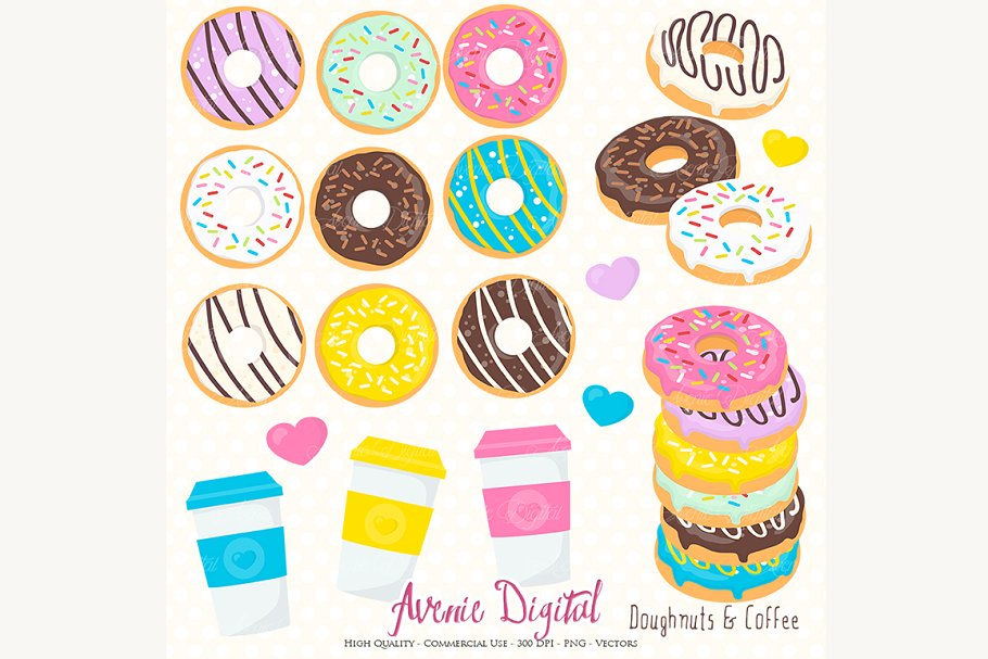 Donut and Coffee Clipart.