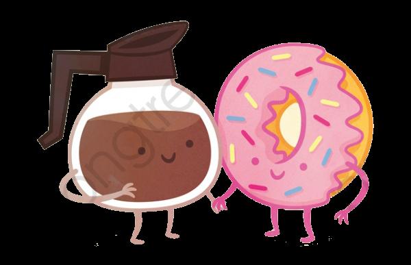 Cartoon Coffee Donuts Friendship Day, Cartoon Clipart, Coffee, Hand.