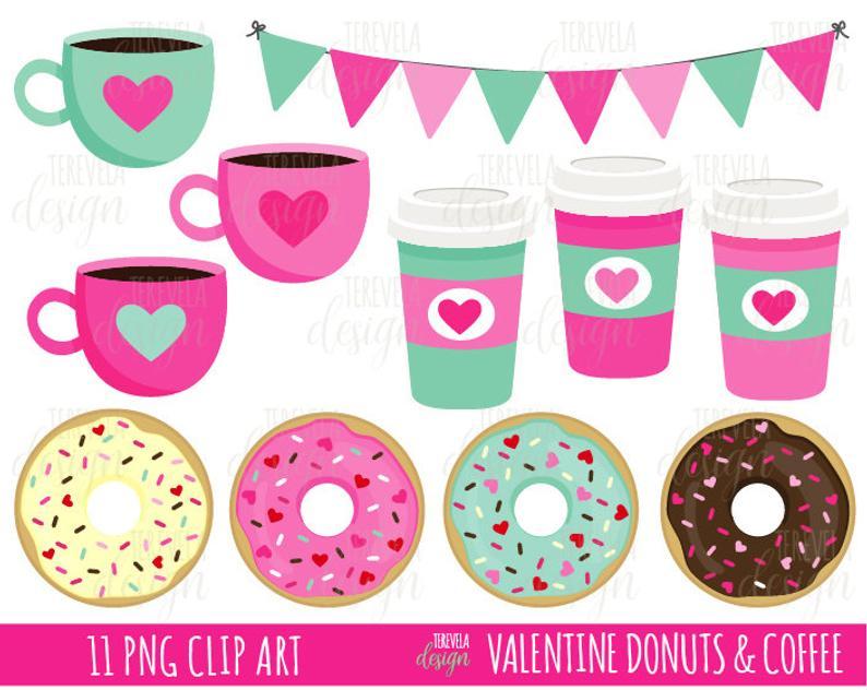 VALENTINE'S CLIPART, Coffee and donut clipart, donuts clipart, coffee  clipart, commercial use, cute clipart, dessert clip art, hearts, love.