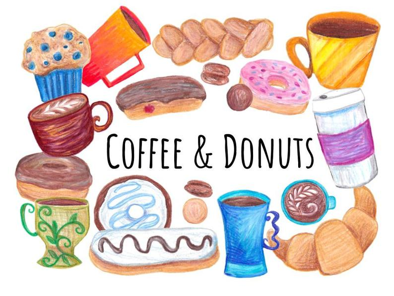 Coffee and Donuts clipart, hand drawn clipart coffee and doughnuts, coffee  mug clipart, donut clipart, doodle commercial use clip art.