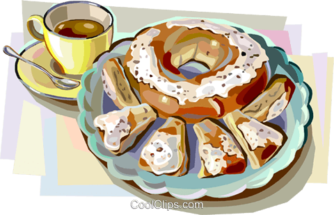 Danish pastry with coffee Royalty Free Vector Clip Art illustration.