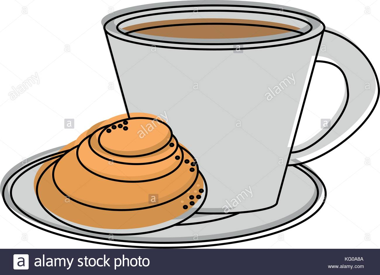coffee with pastry icon image Stock Vector Art & Illustration.