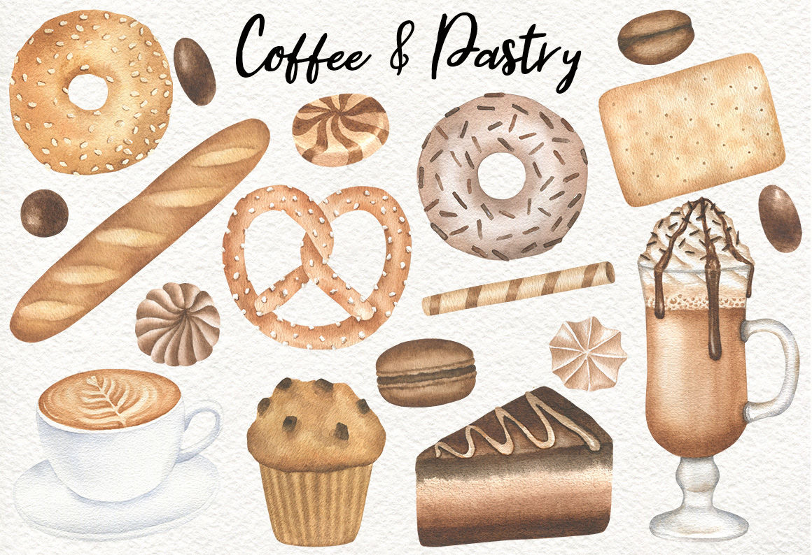 Coffee and Bakery watercolor clipart and patterns, Pastry graphics.
