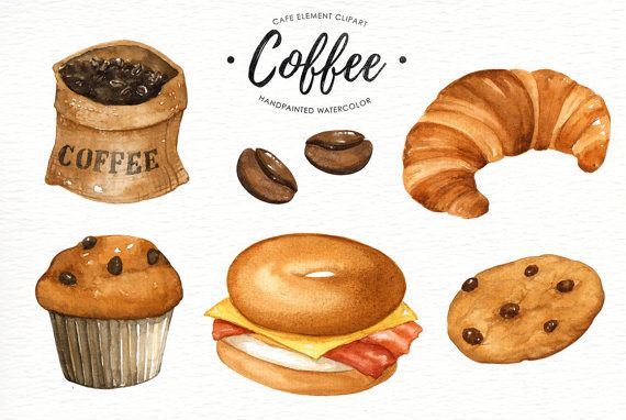 Coffee watercolor clipart, Cafe clipart, Food Watercolor clipart.