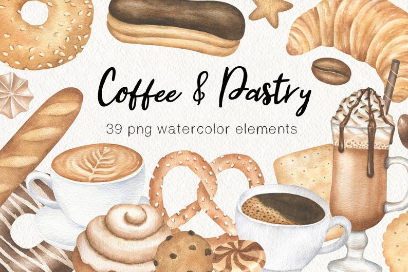 Coffee Watercolor Clipart, Bakery Graphics, Pastry Cookie Watercolor  Clipart, Coffee Shop and Bakery Logo, Autumn Clipart, Instant Download.