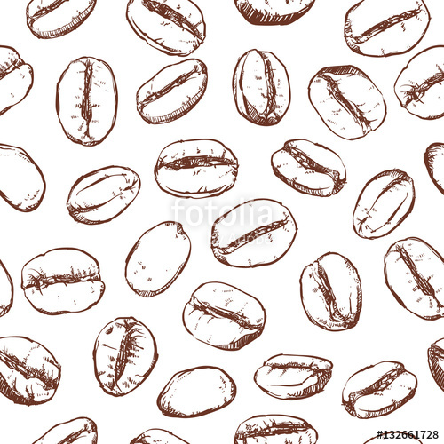 Coffee bean pattern including seamless on white background.