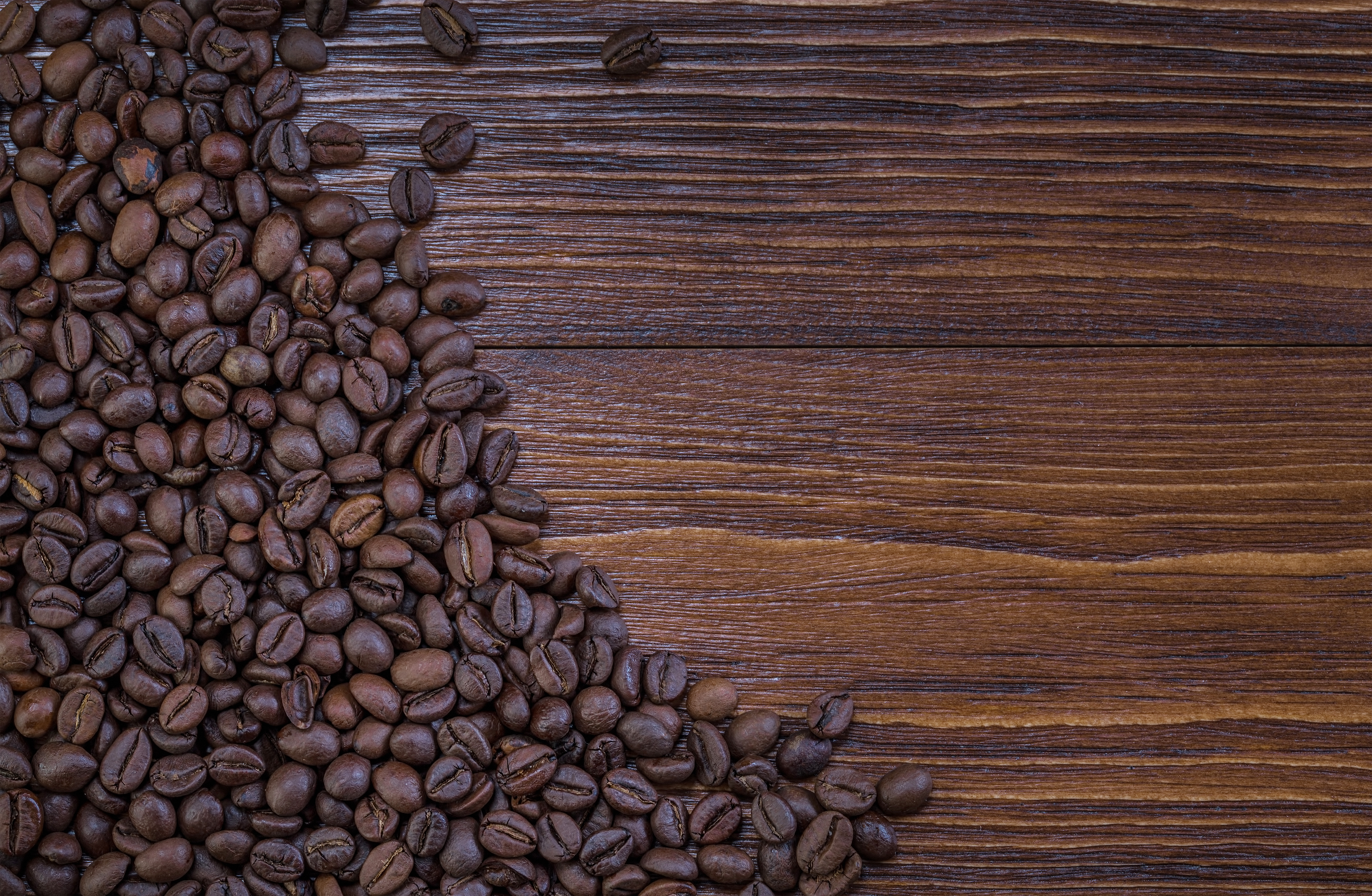 Coffee Beans Wooden Background.