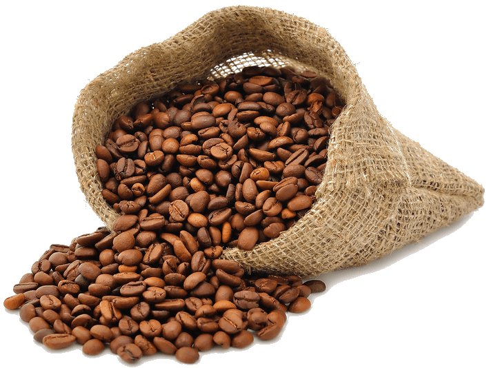 Coffee Beans Bag Side Open transparent PNG.