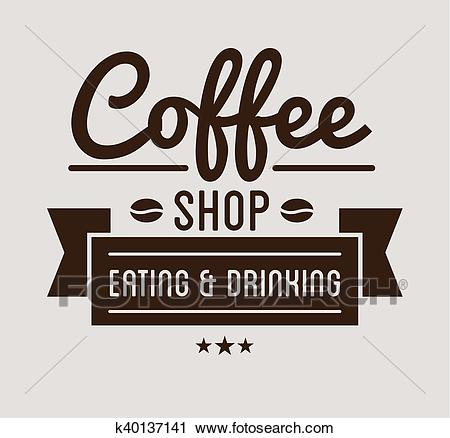 Vintage logo. Coffee shop template Clipart.