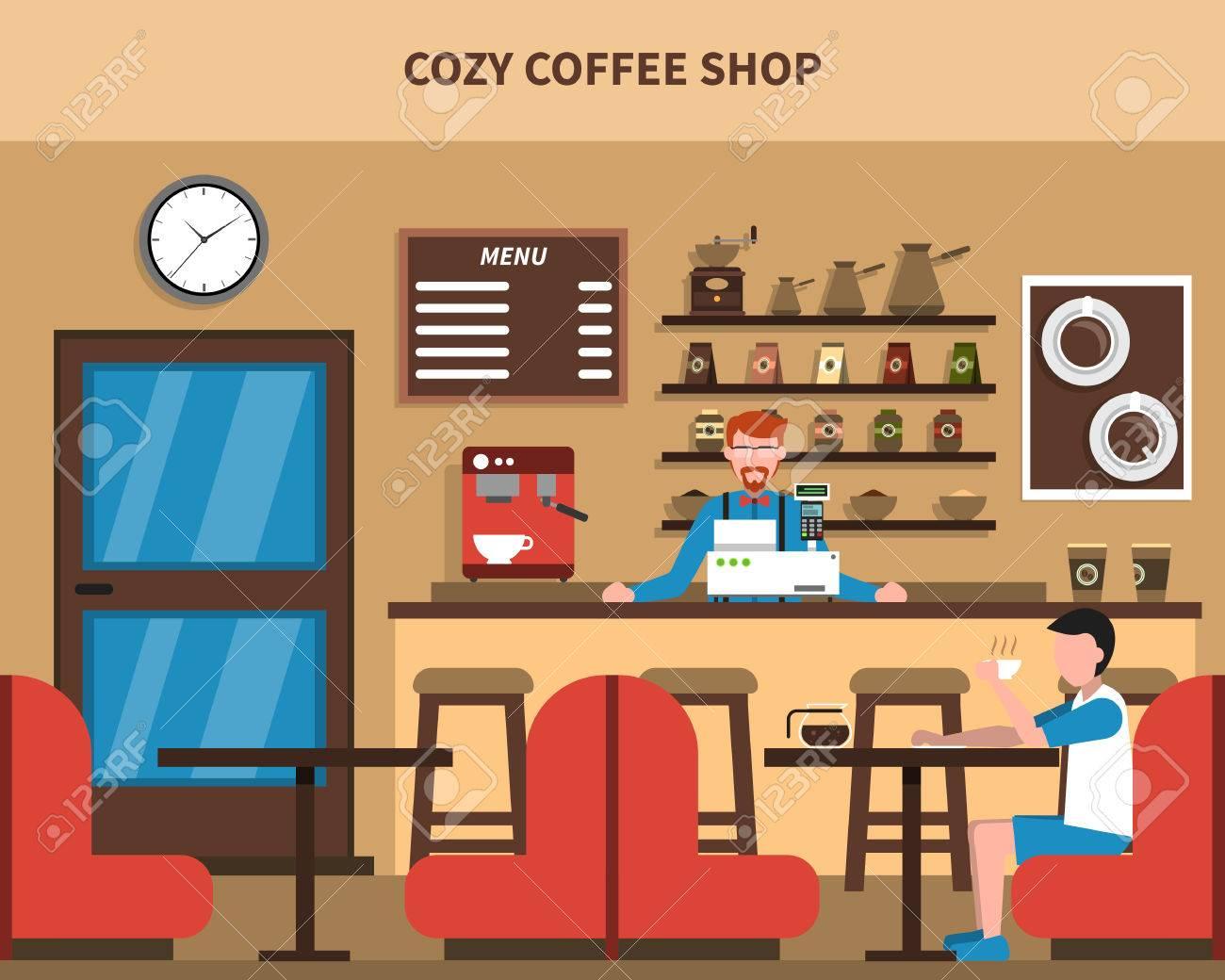 Cozy coffee shop bar interior retro style flat banner with barmen...