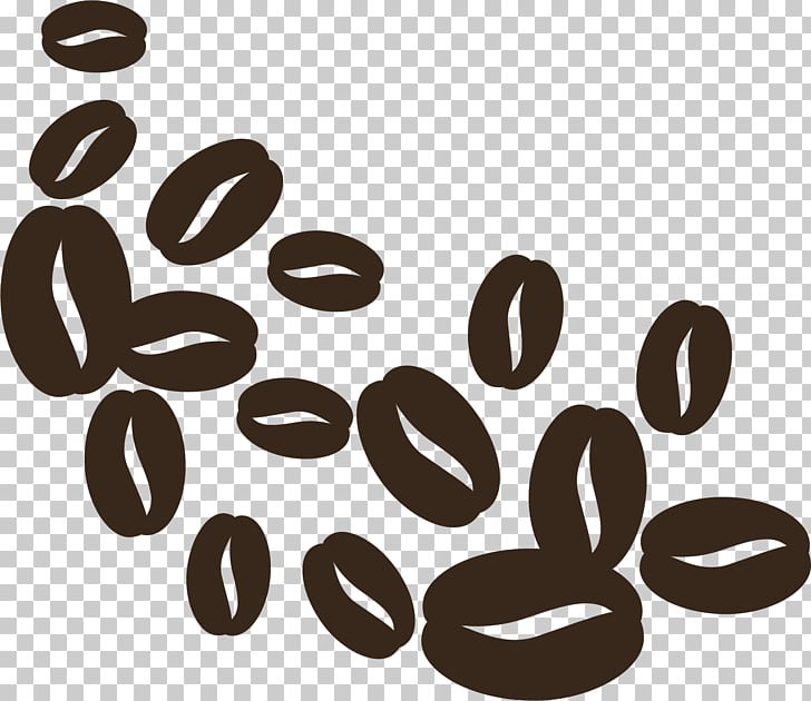 Coffee bean Cafe Brown, Hand painted brown coffee beans PNG.