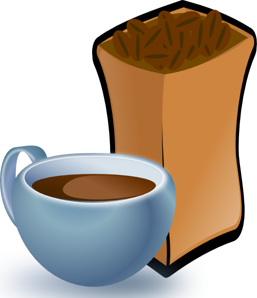 Cup Of Coffee With Sack Of Coffee Beans clip art Free Vector / 4Vector.