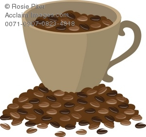 Clip Art Illustration Of A Cup Of Coffee Beans Sitting On A Mound.