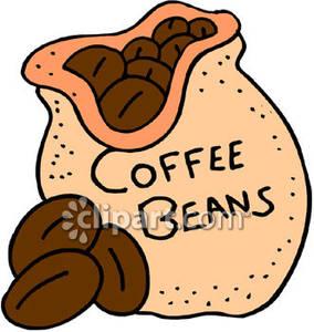 Coffee bean bag clipart.