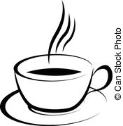 Clipart coffee black and white.