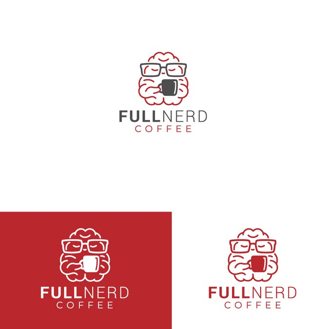 Create a Minimalist logo design for Full Nerd Coffee Brand.