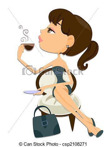 Coffee Break Women Clipart.