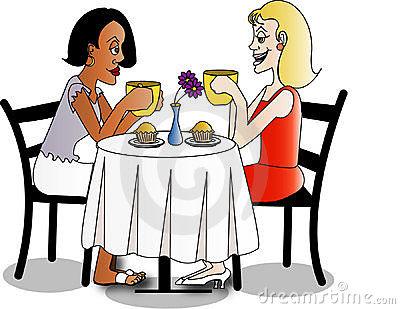 Two Women Coffee Break Stock Illustrations.