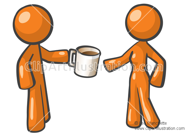 ClipArt Illustration of Orange Man and Orange Woman on a Coffee.