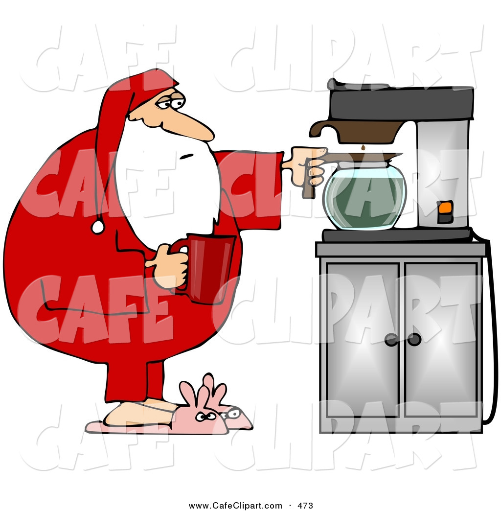Vector Clip Art of a Santa in His Pajamas and Bunny Slippers.