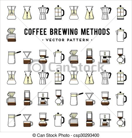 Vector Clipart of Coffee brewing methods pattern. Different ways.