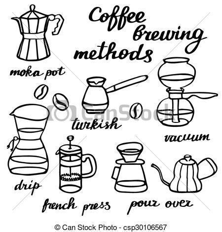 Clip Art Vector of Coffee brewing methods set. Hand.