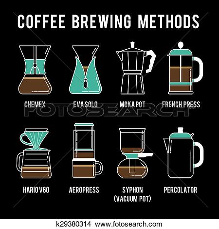 Clipart of 8 coffee brewing methods icons set. Different ways of.