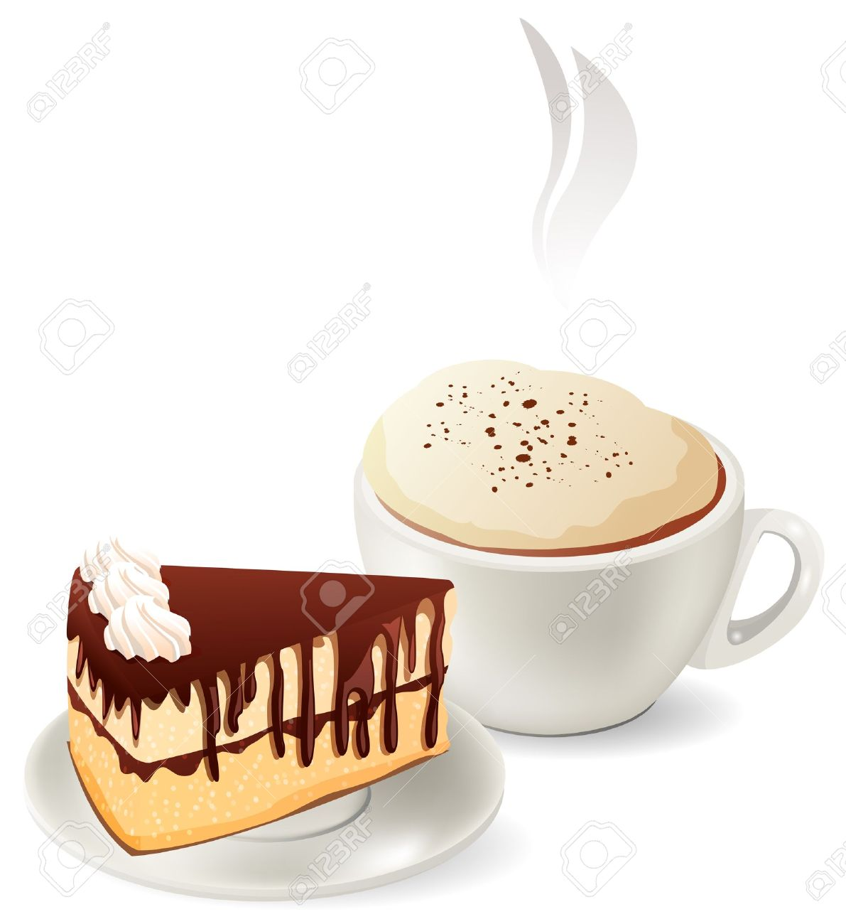 Cup of hot coffee with cake.