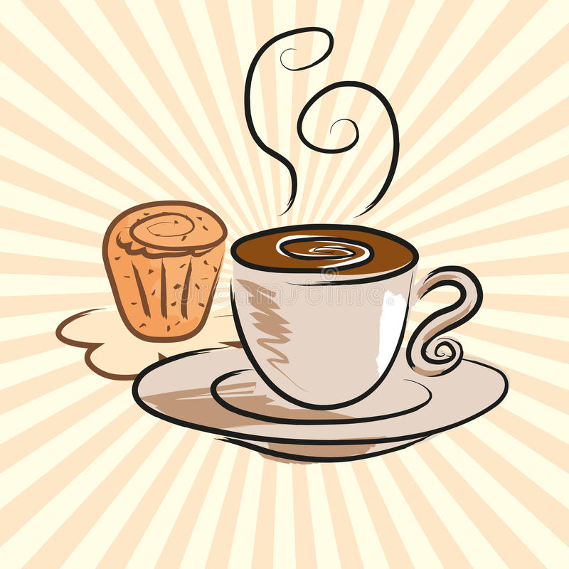 Coffee Cake Shop Stock Illustrations.