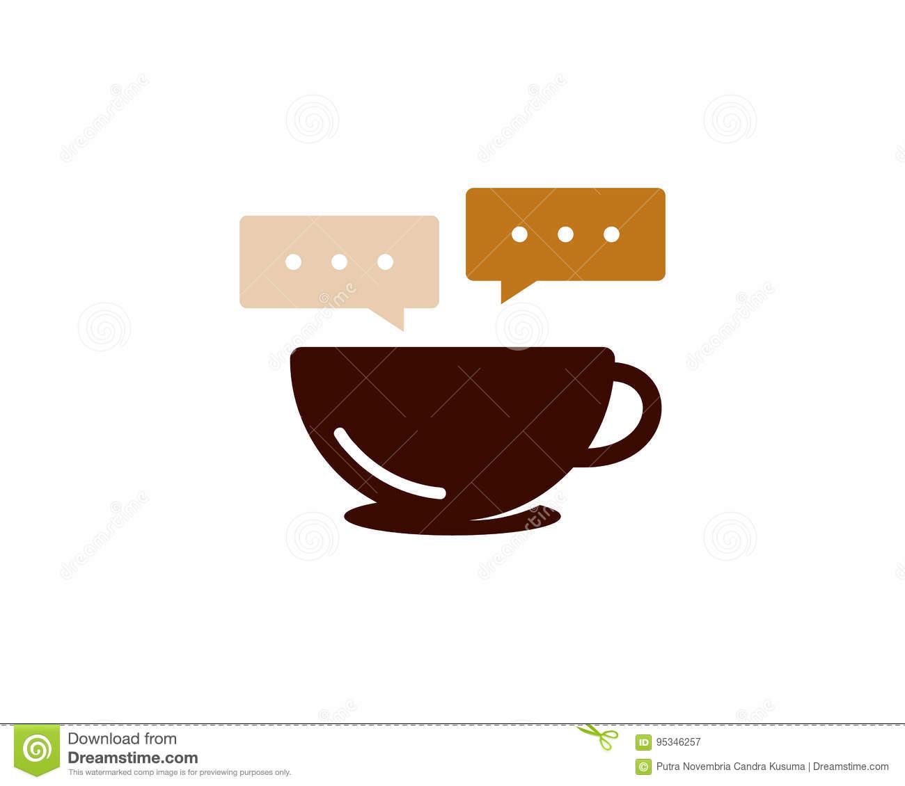 Chat Talk Coffee Icon Logo Design Element Stock Vector.