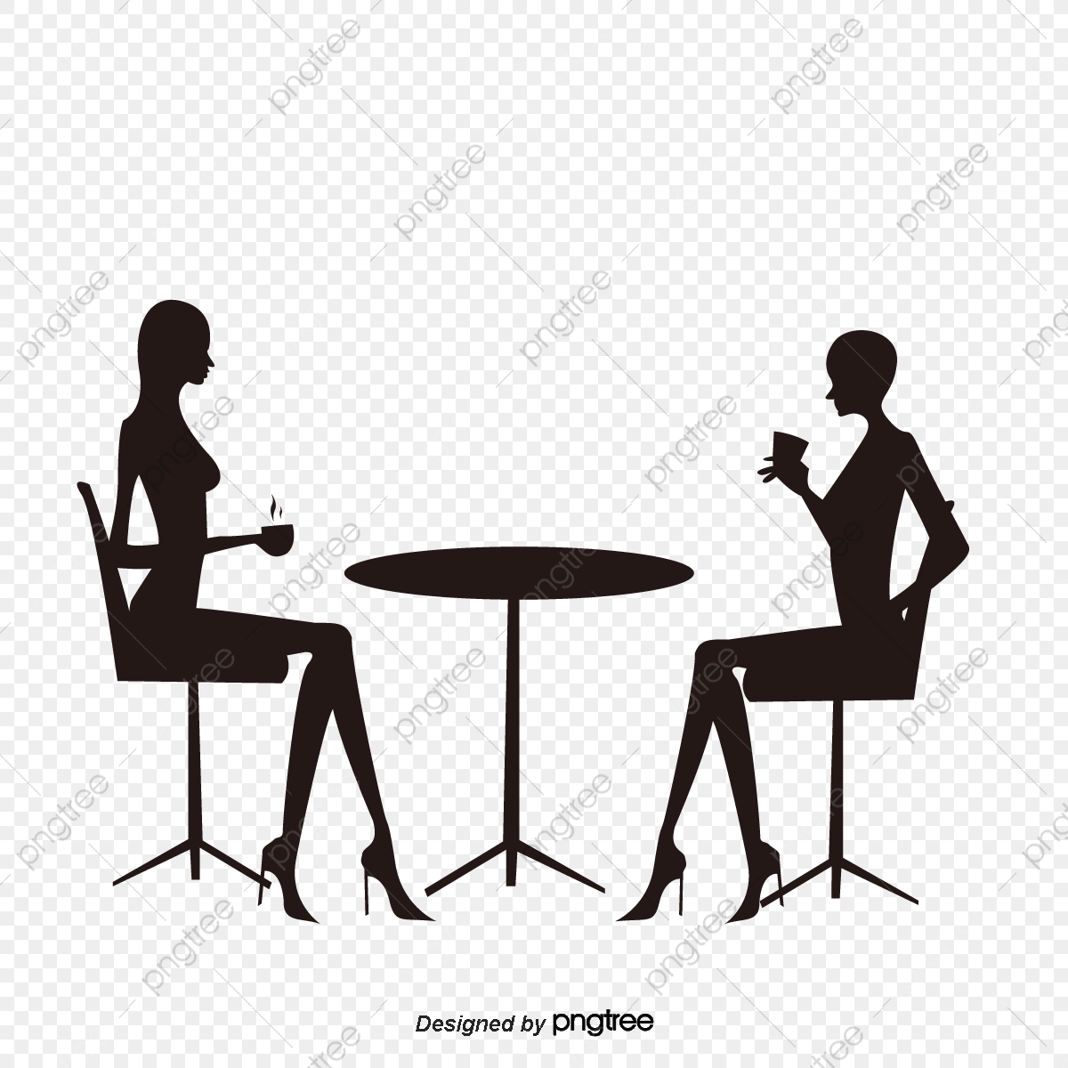 Girl Drinking Coffee Chat Silhouette, Coffee, Sketch, Fashion PNG.
