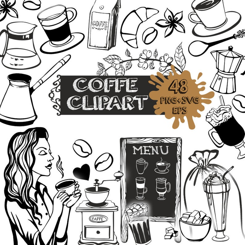 Coffee clipart black and white, Coffee svg, coffee clipart png, Coffee  digital clipart, Coffee illustration, Coffee beans png, Coffee pot.