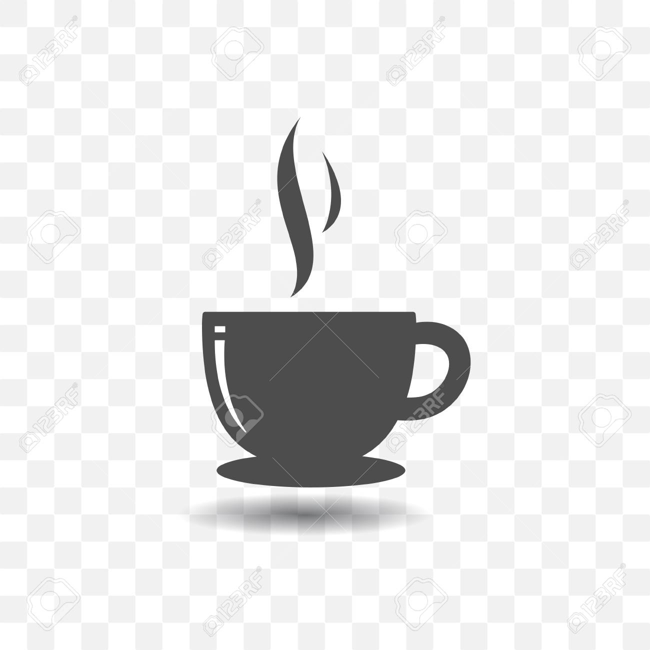 Coffee cup icon simple vector with shadow on transparent background..