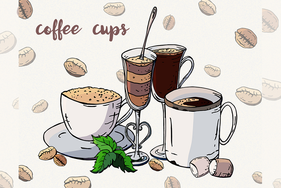 Coffee clipart Coffee cup Sweets clipart Vector coffee.